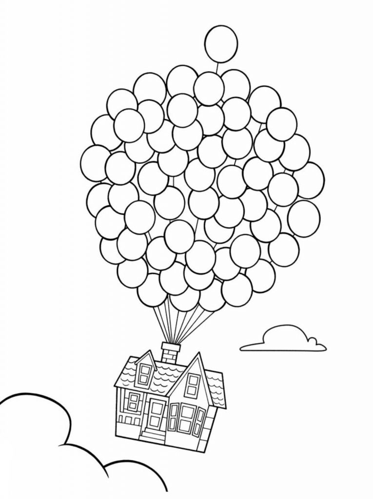 Up House and Balloons Coloring Page