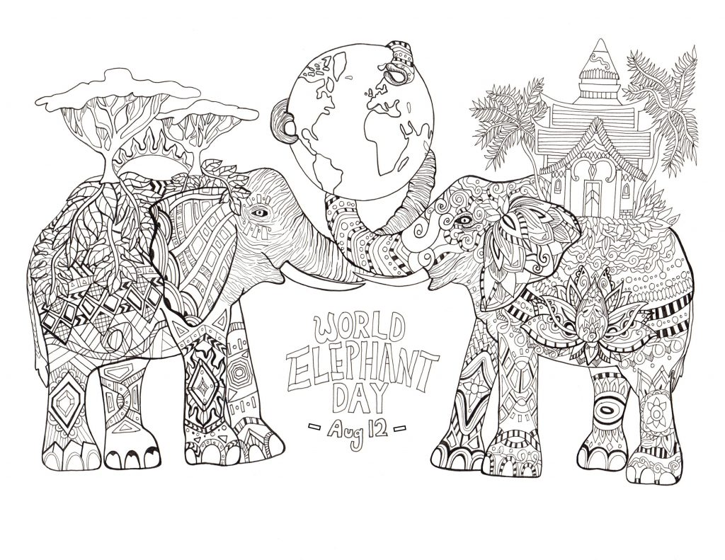 World Elephant Day Coloring Page