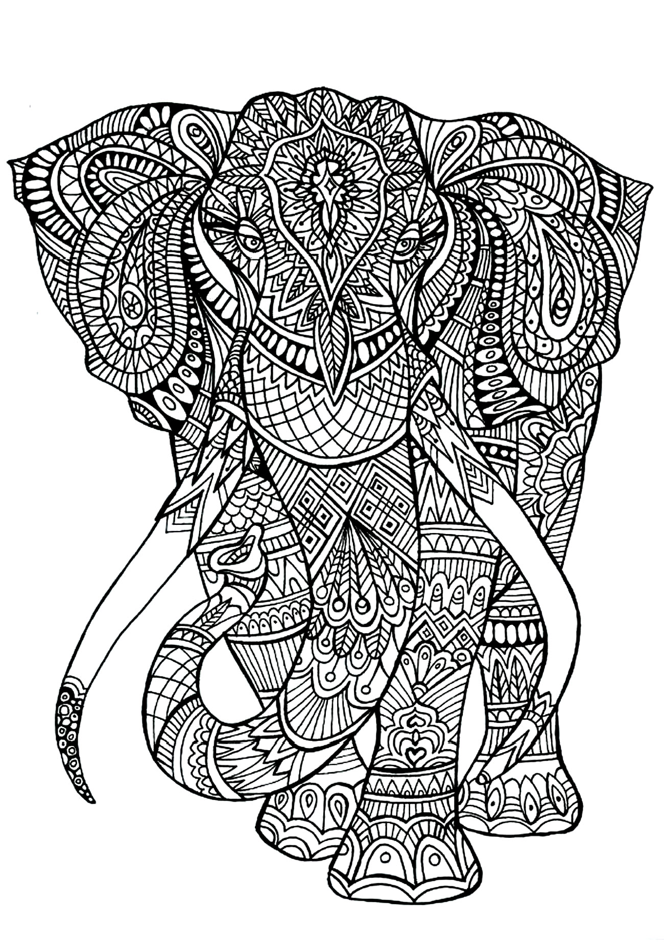 Zen Elephant Coloring Pages for Adults