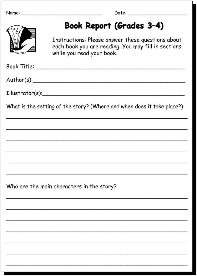 3rd Grade Book Report Worksheet