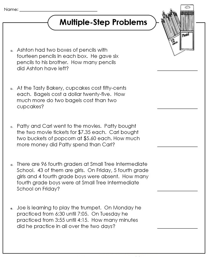 3rd Grade Math Multiple Step Problems