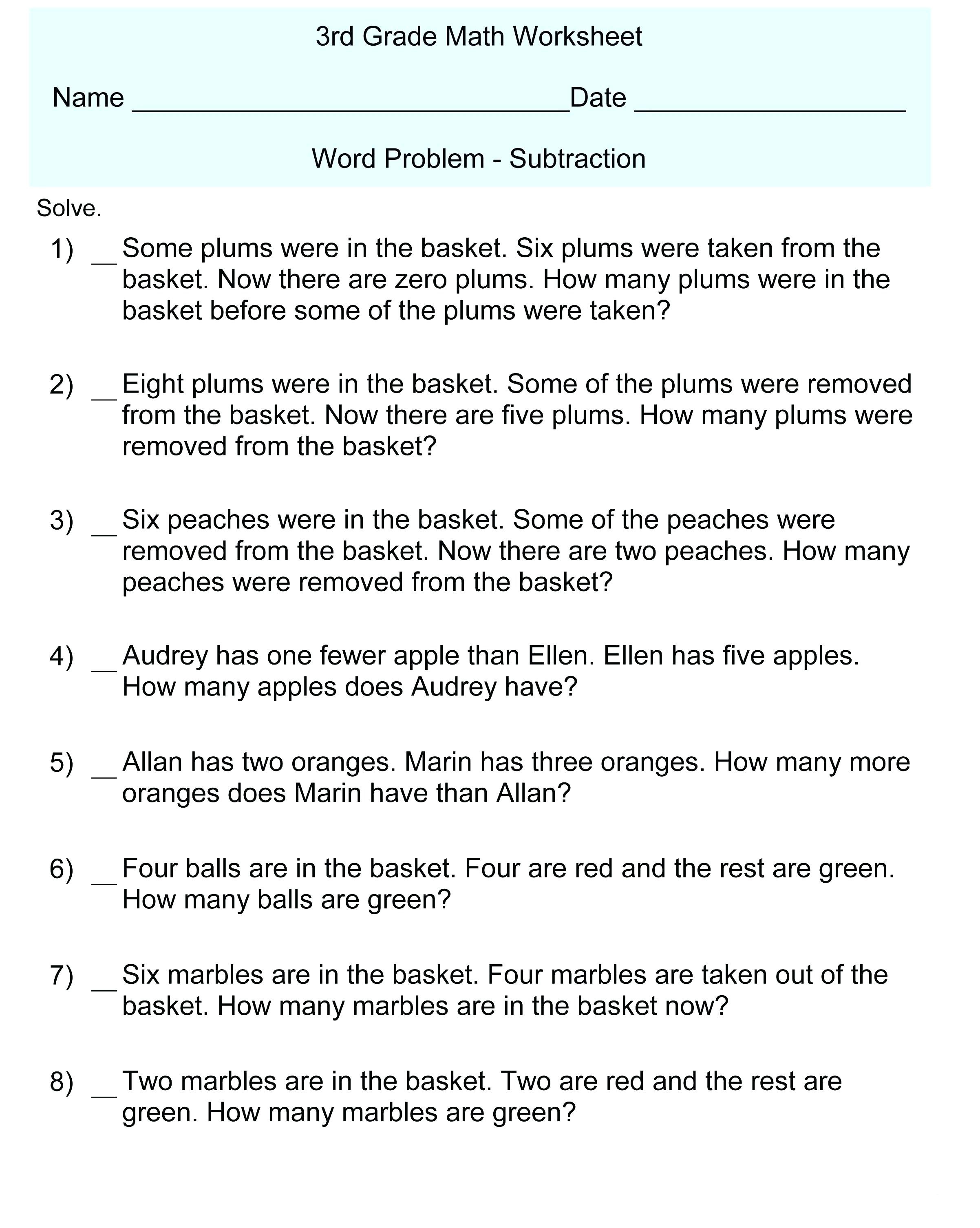 3rd Grade Math Word Problems - Best Coloring Pages For Kids