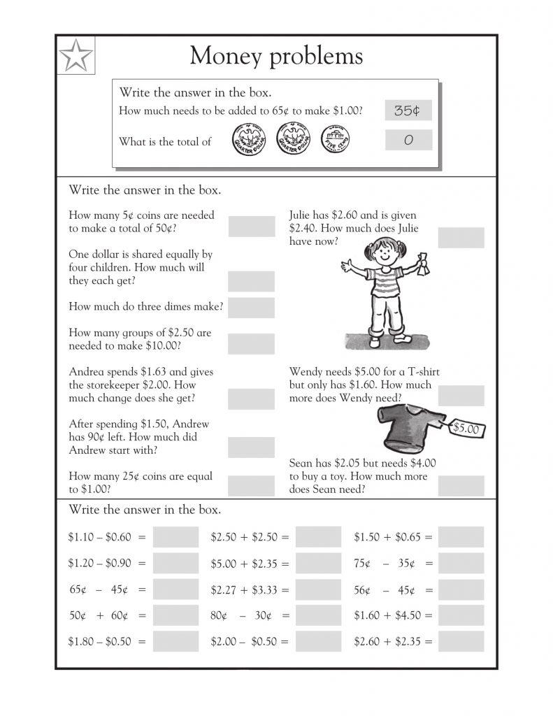 3rd Grade Math Word Problems Money Sheet 2