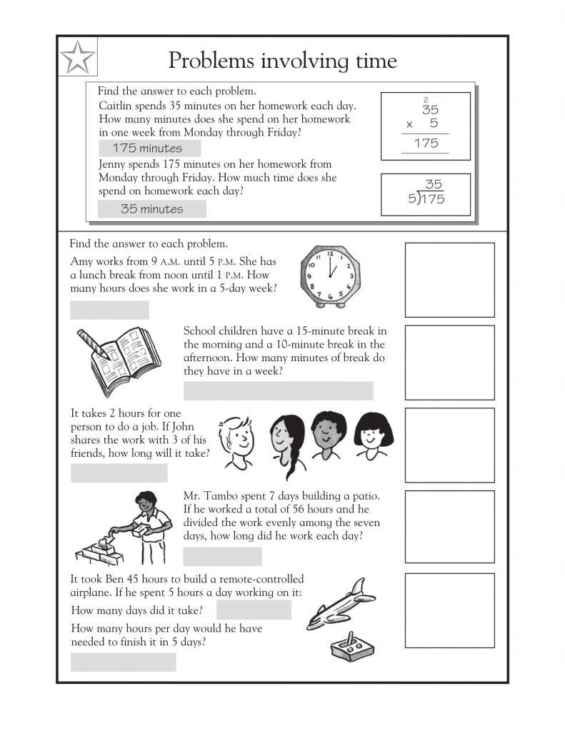 3rd Grade Math Word Problems Time Sheet 2