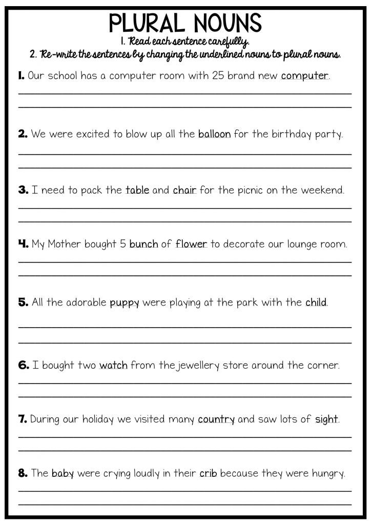 3rd Grade Writing Plural Nouns Worksheet