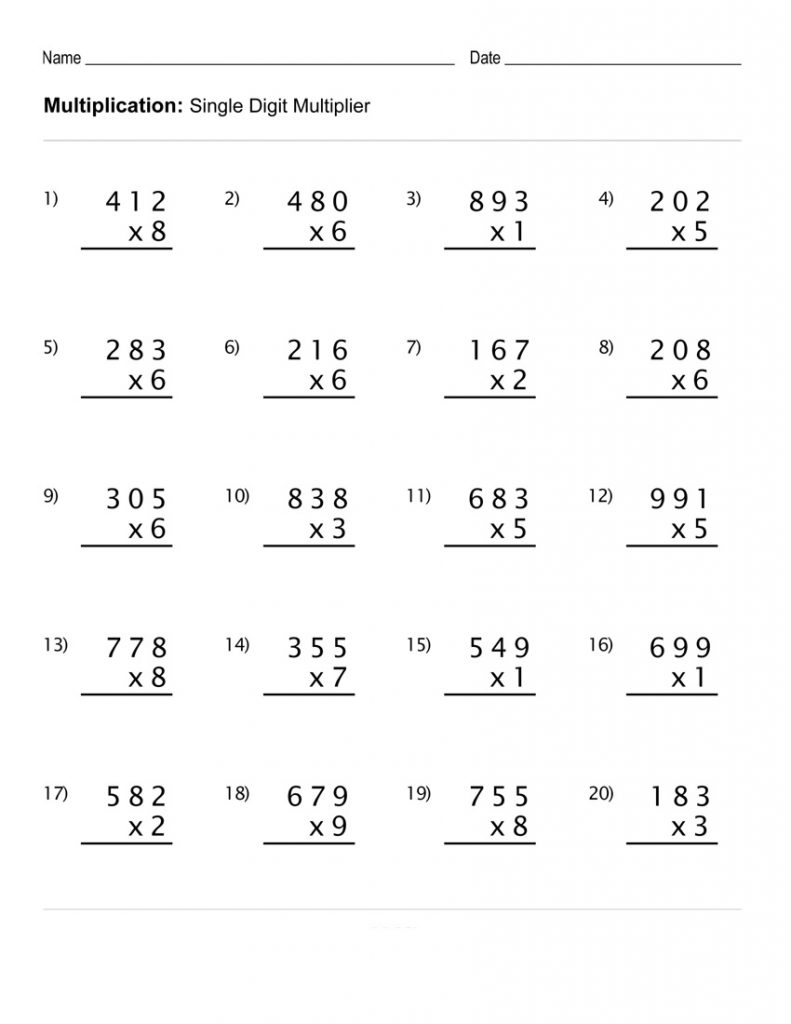 Printable Children's Multiplication - Single Digit Multiplier (S
