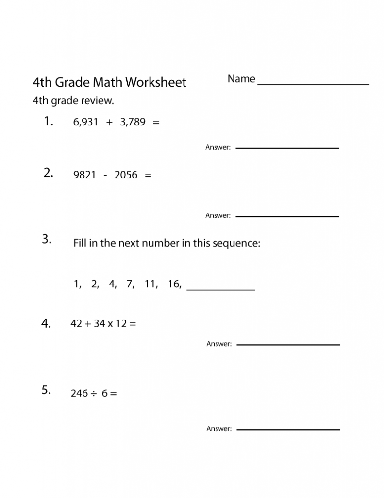 4th Grade Math Worksheet