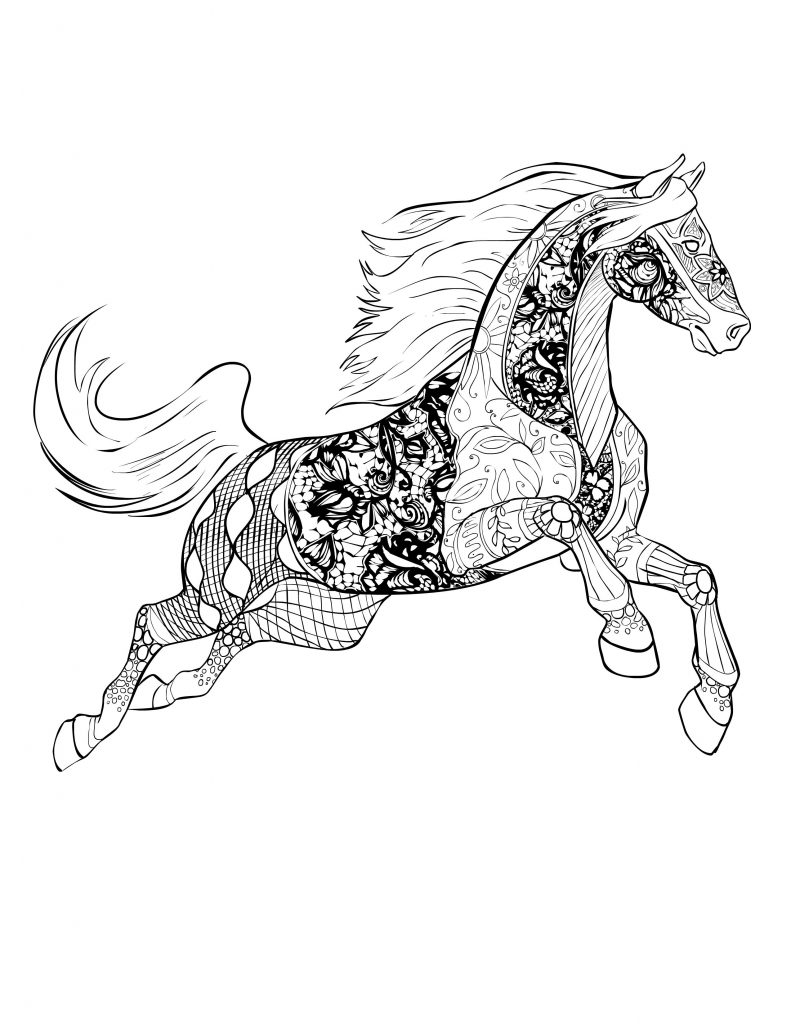 Advanced Horse Coloring Pages for Adults