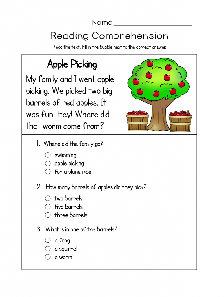 Apples Reading Comprehension Worksheets