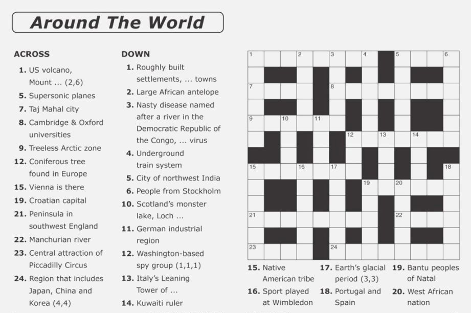 Around The World Crossword Puzzle