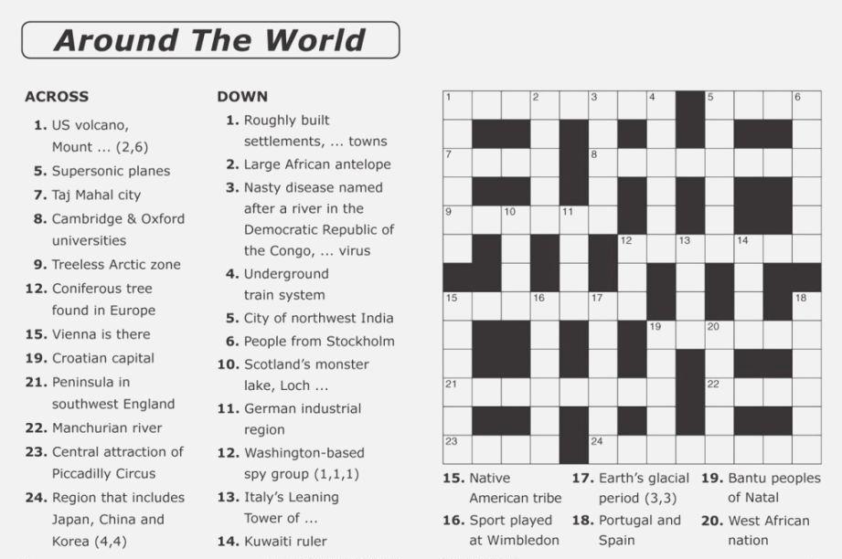 Around The World Crossword Puzzle