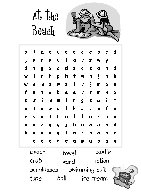 At the Beach Summer Word Search Puzle