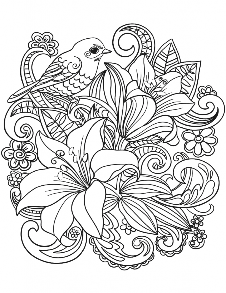 Bird Bouquet Floral Coloring Pages For Adults