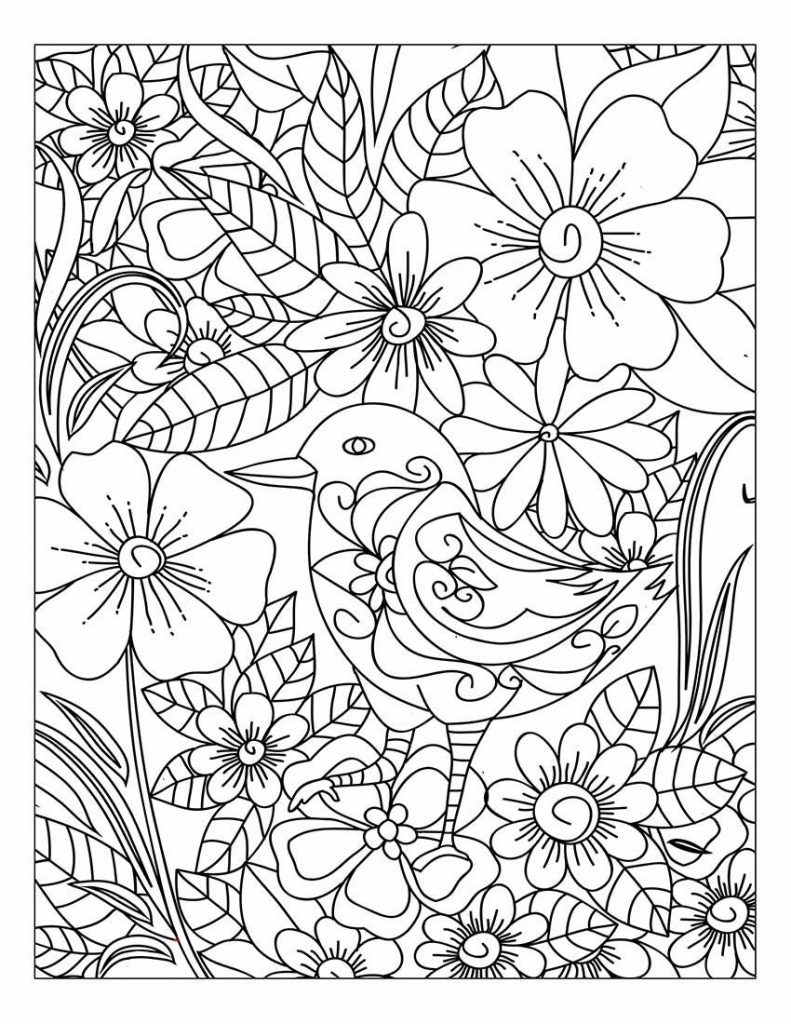 Bird Floral Coloring Pages For Adults