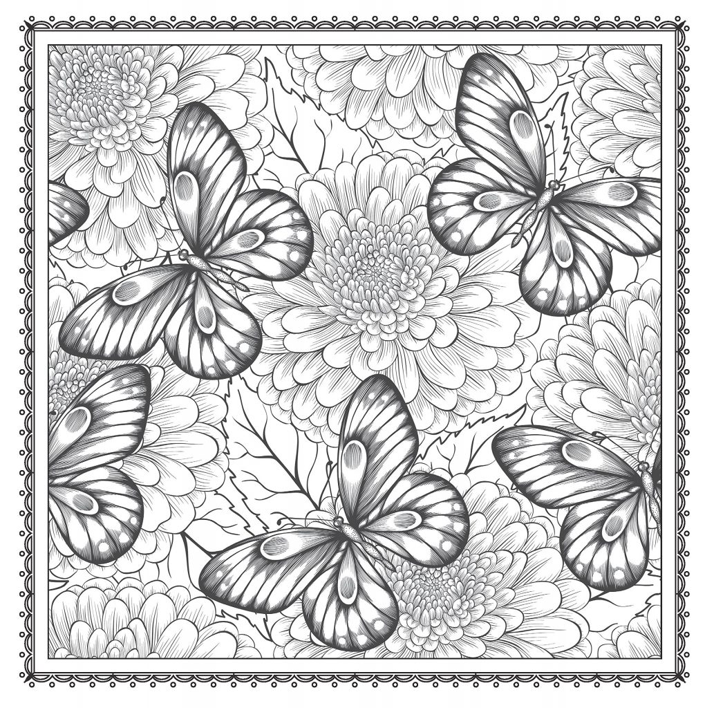 Butterfly Floral Coloring Pages For Adults