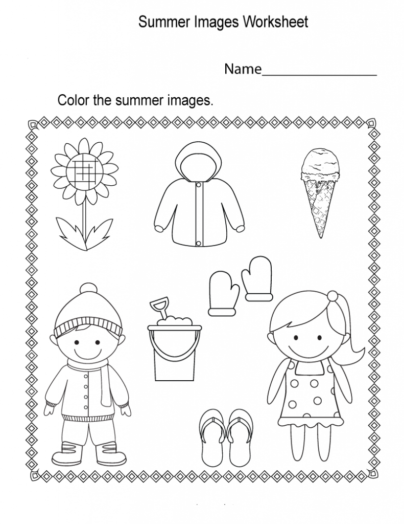 Color Only Summer Worksheet