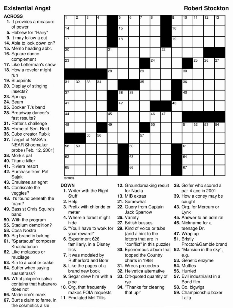 Crossword Puzzle for Adults