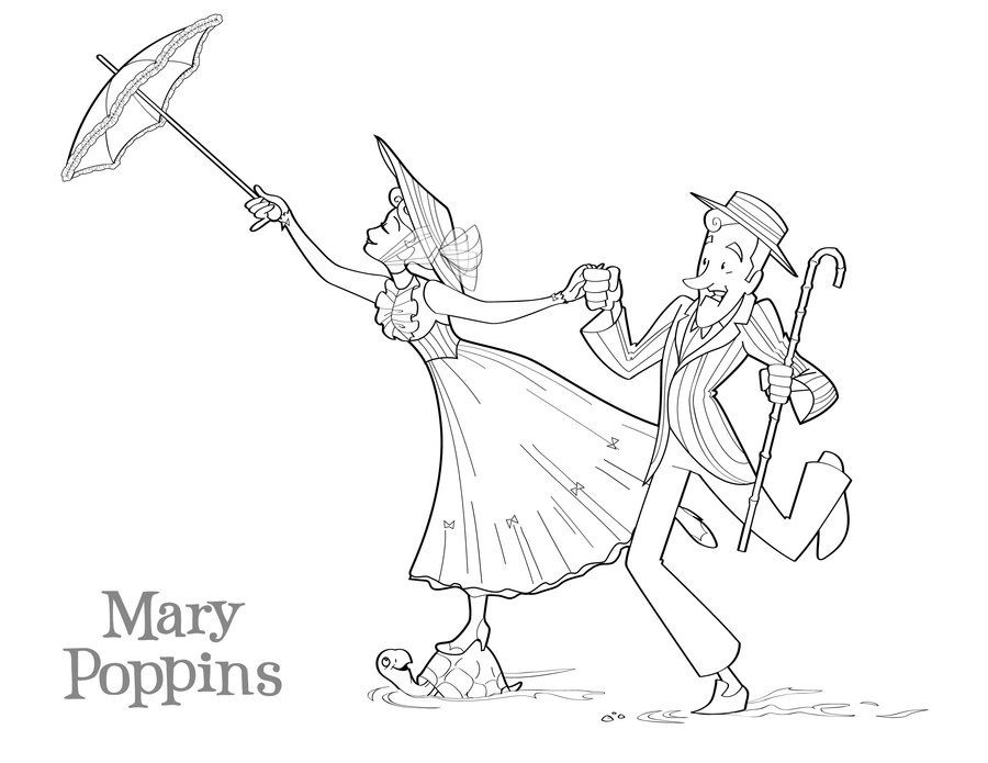Cute Mary Poppins Coloring Page