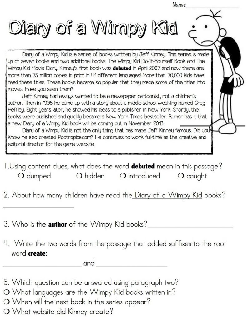 Diary of A Wimpy Kid Reading Worksheet