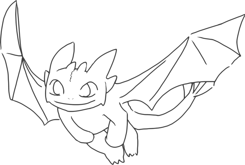 Easy Toothless Coloring Pages