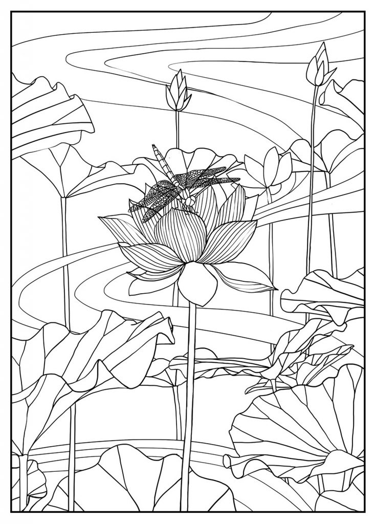 Floral Scene Coloring Pages For Adults
