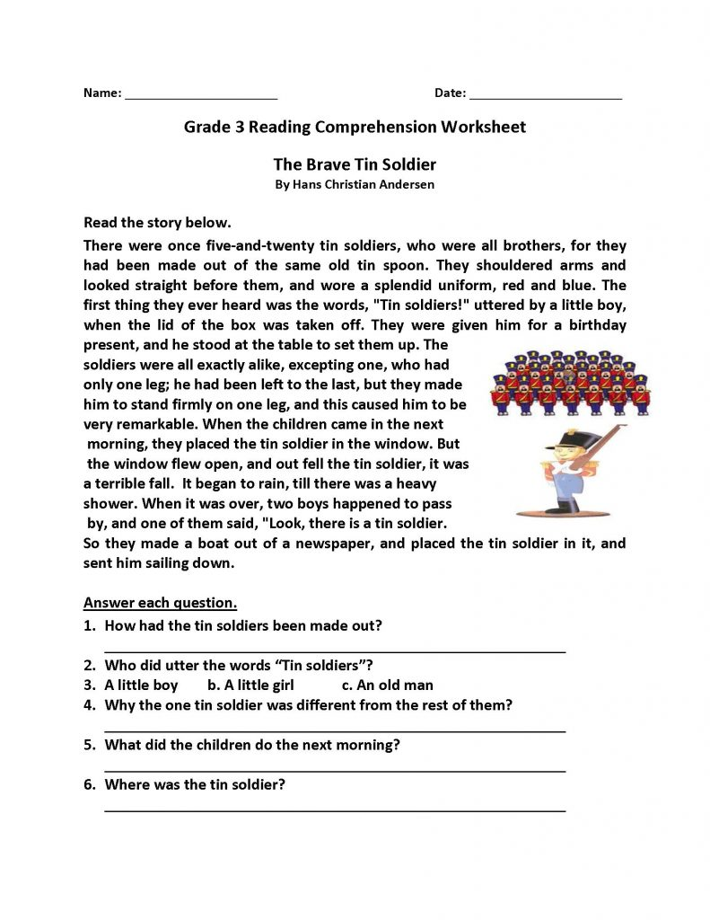 Grade 3 Reading Comprehension Worksheets