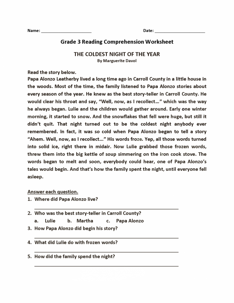 Grade 3 Reading and Answer Worksheet