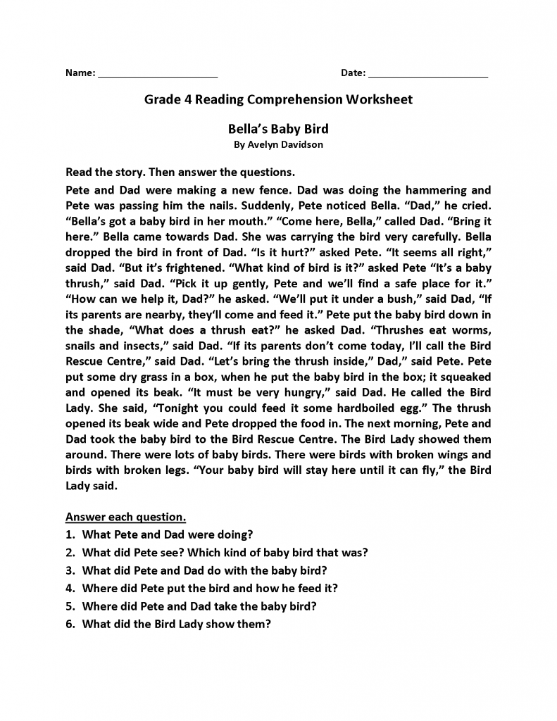 Grade 4 Reading Comprehension Worksheets
