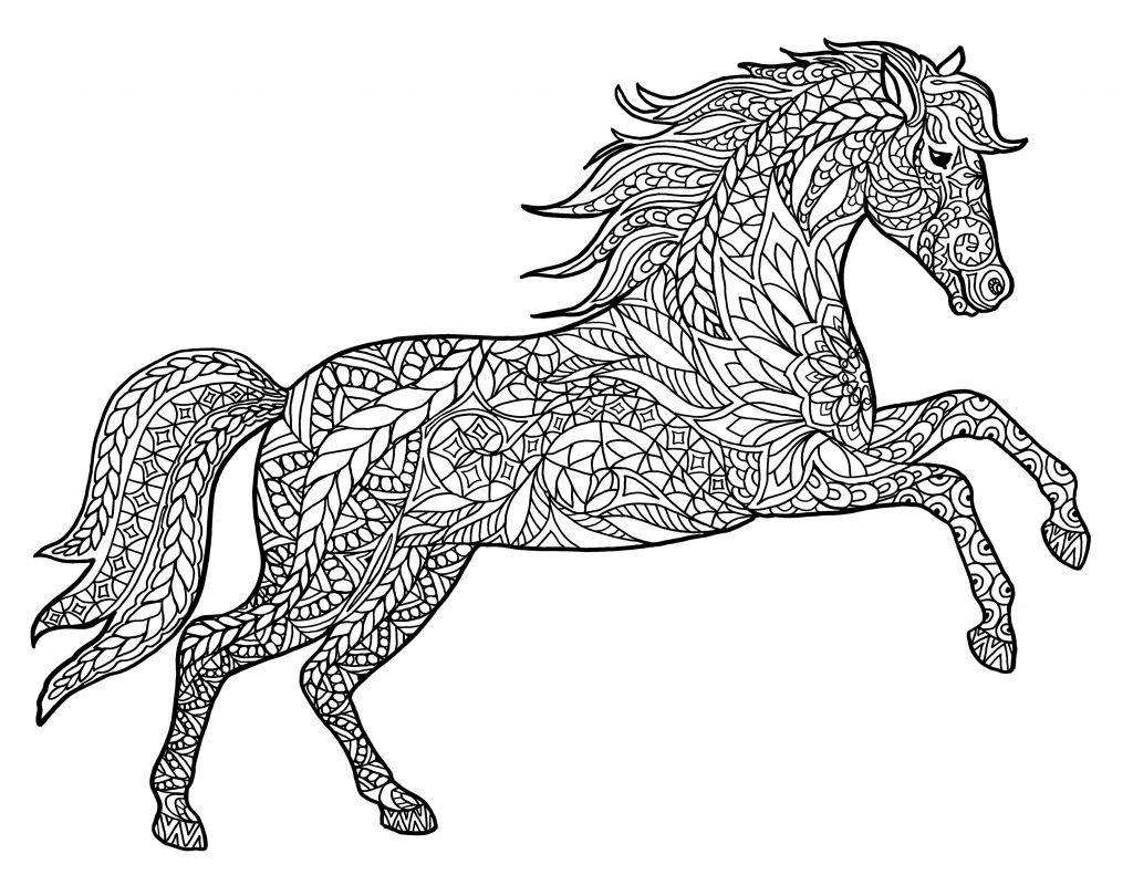 Hard Horse Coloring Pages for Adults