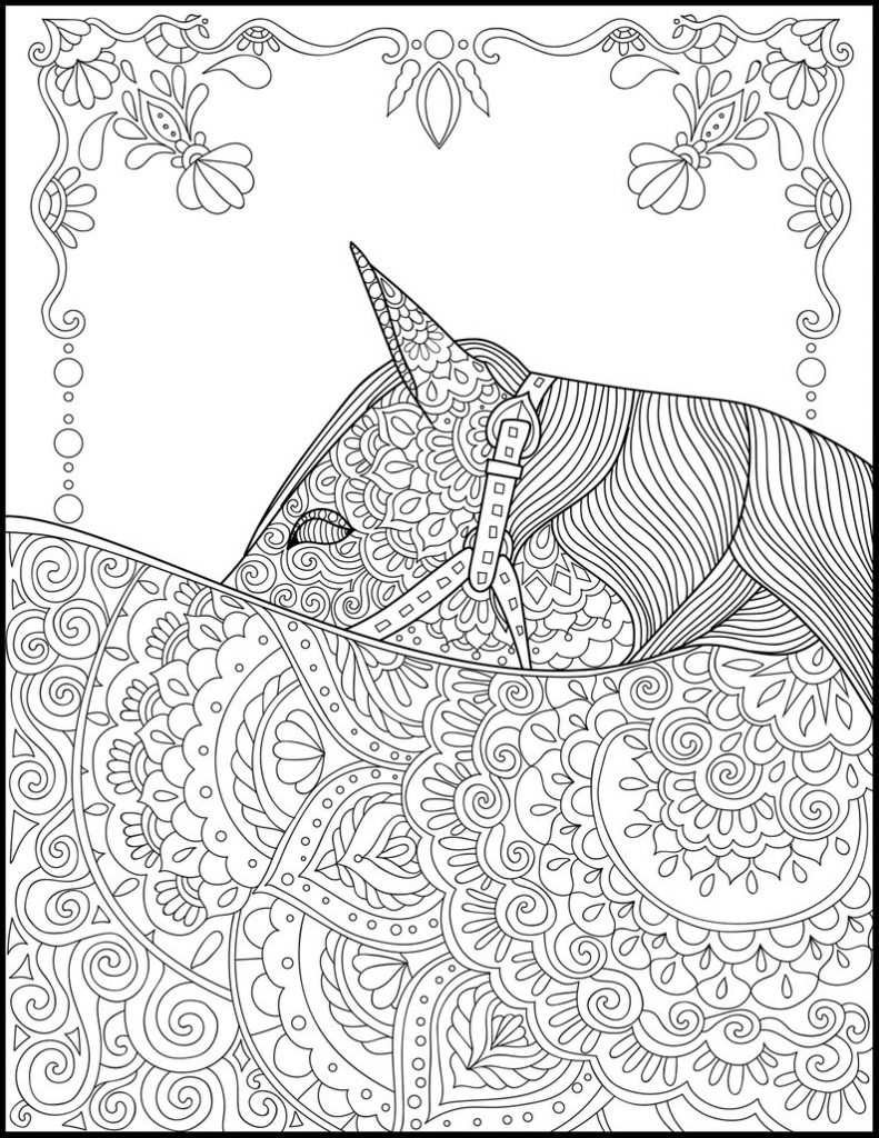 Horse Details Coloring Page for Adults