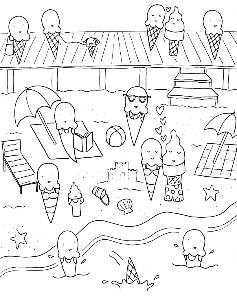 Ice Cream Beach Party Coloring Page