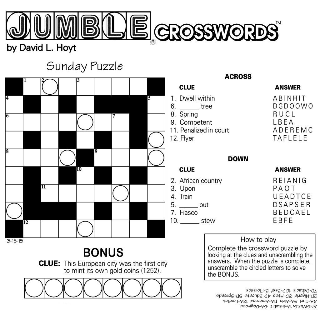 Jumble Crossword Puzzles