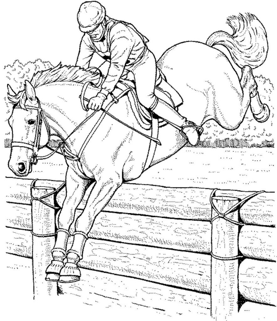 Jumping Horse Coloring Pages for Adults