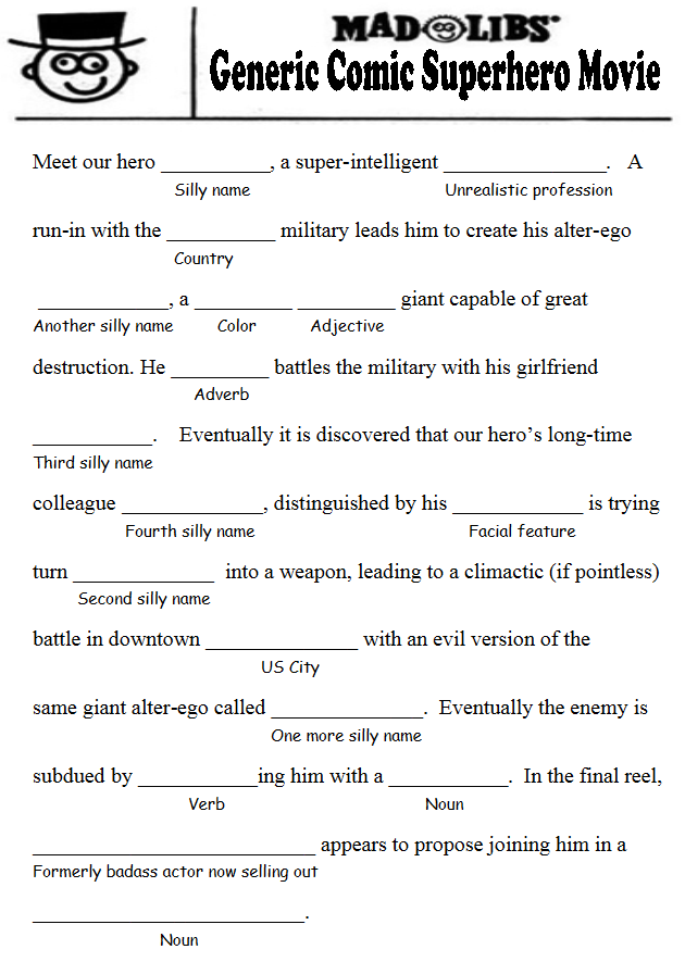 Mad Libs Printable Game for Adults