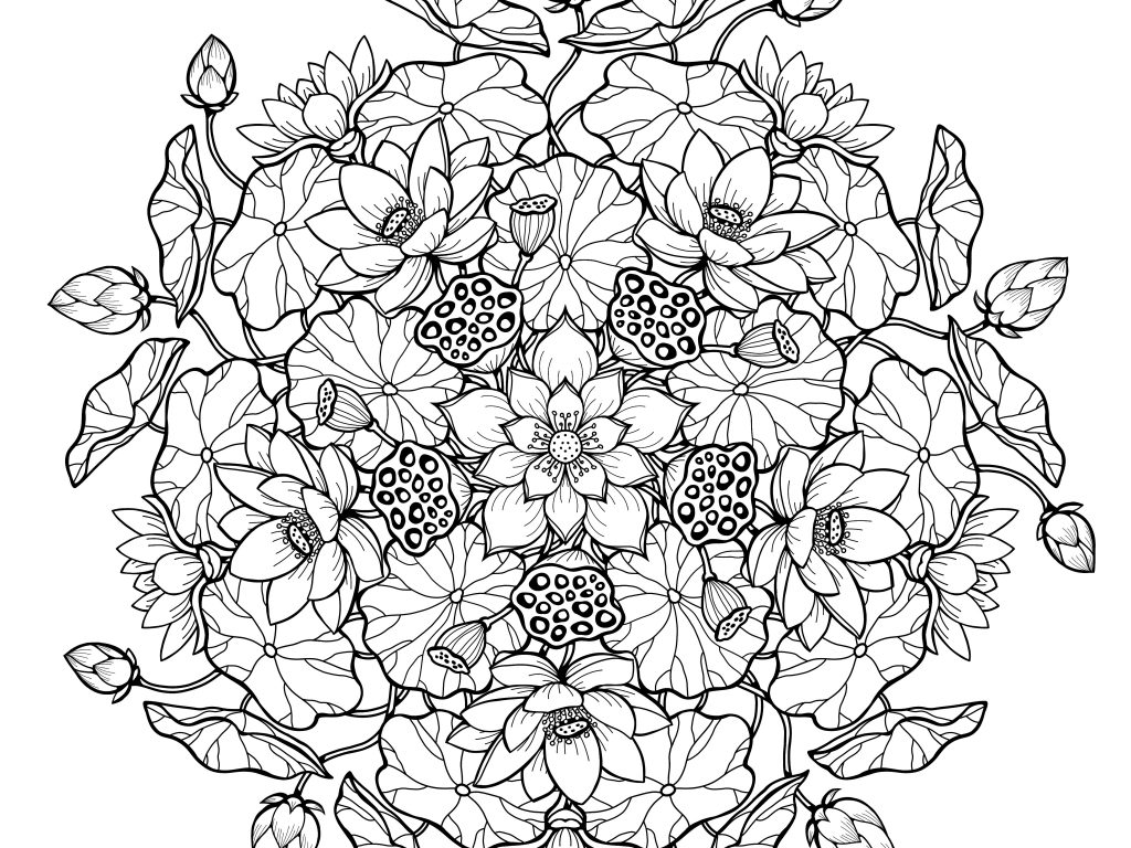Mandala Floral Coloring Pages For Adults