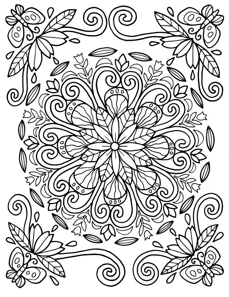 Mandala Floral Pattern Coloring Pages For Adults