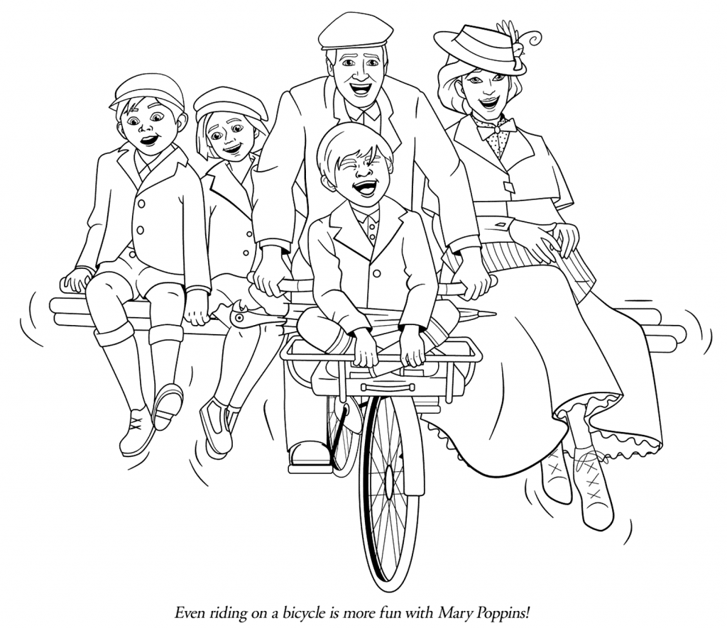Mary Poppins Bicycle Coloring Page