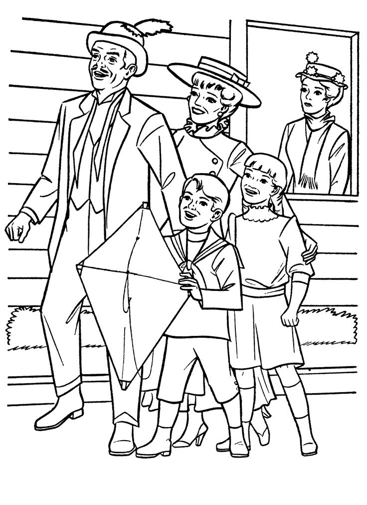 Mary Poppins Characters Coloring Pages