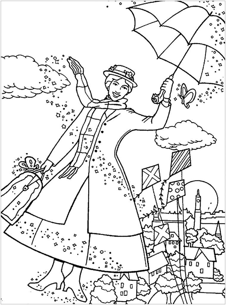 Mary Poppins Coloring Page Printable