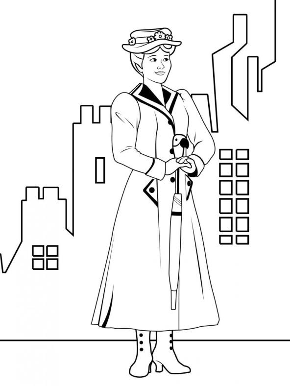 Mary Poppins Free Printable Coloring Pages
