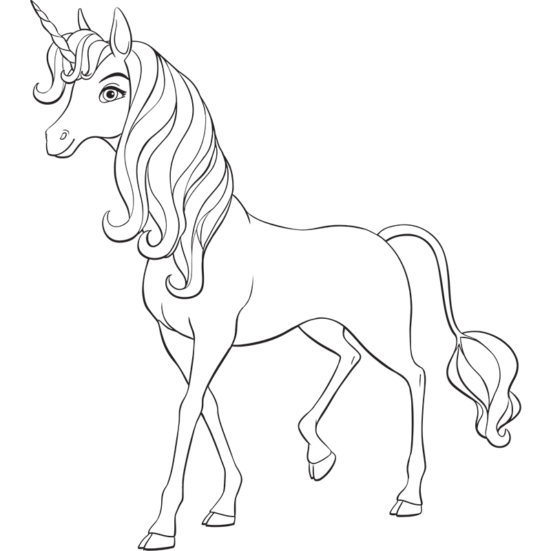 Mia and Me Unicorn Coloring Page