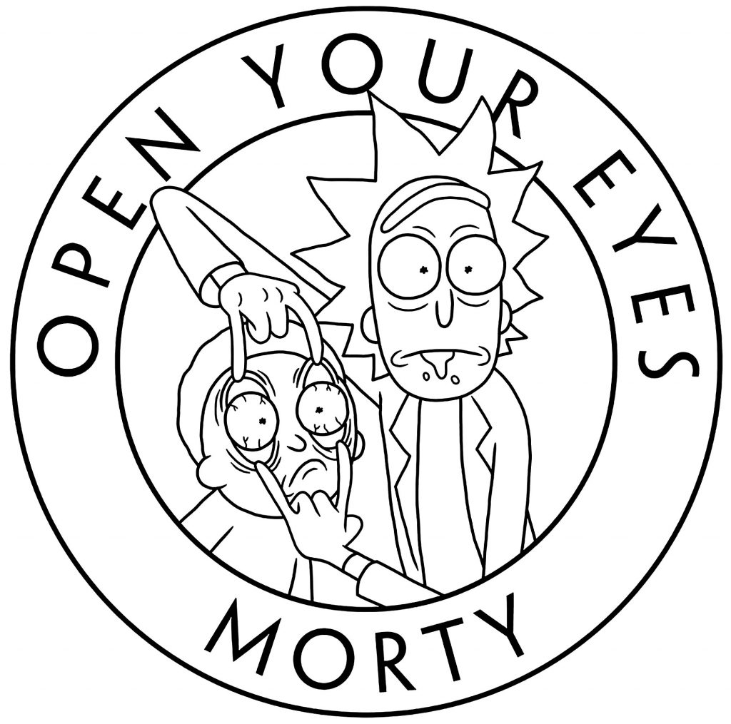 Open Your Eyes Morty Coloring Page