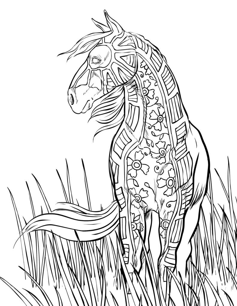 Pattern Horse Coloring Pages for Adults