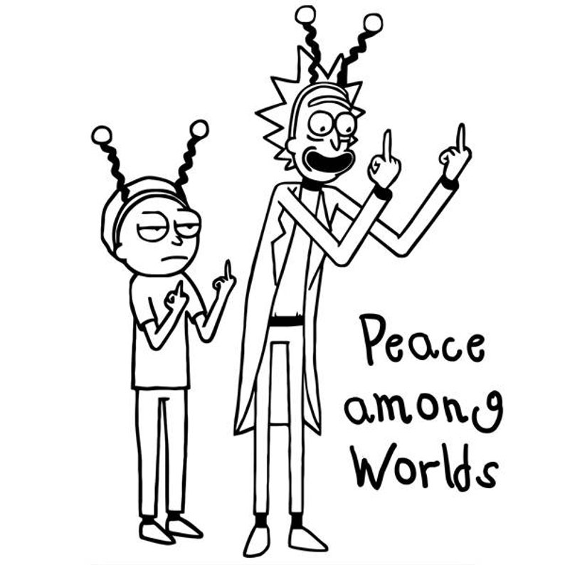 Peaceful Rick and Morty Coloring Pages