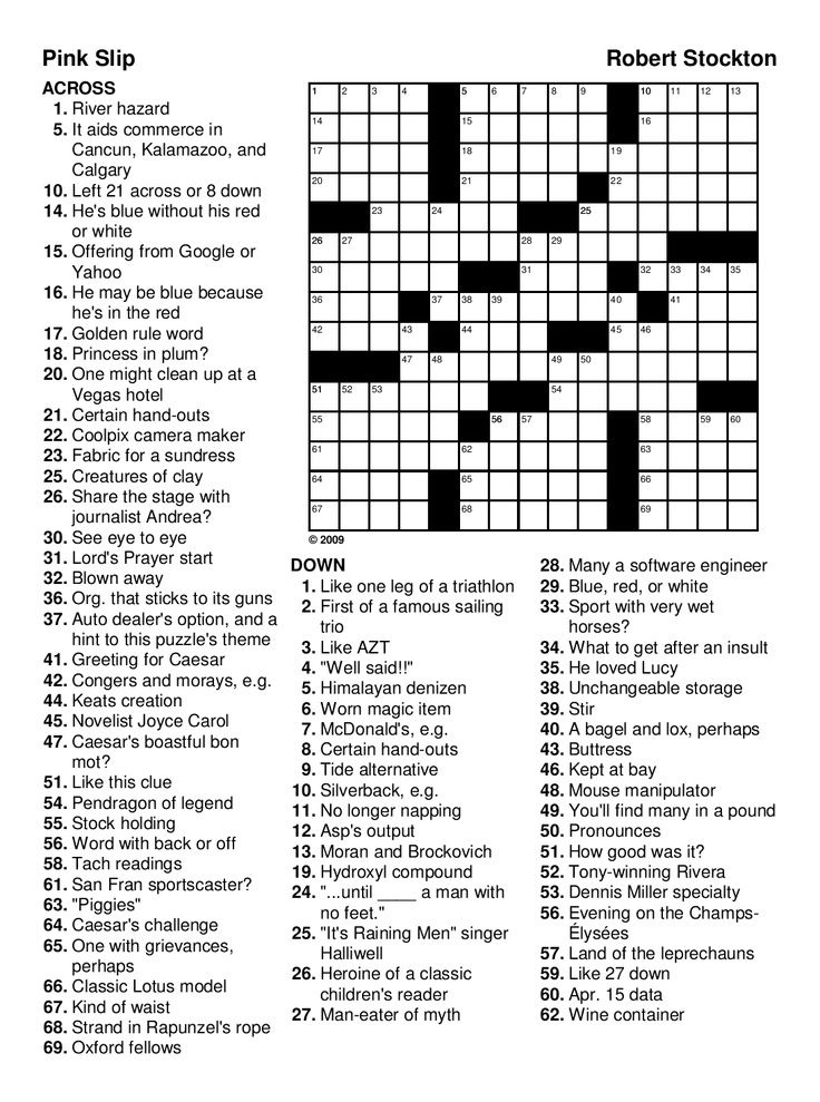 Pink Slip Crossword Puzzle for Adults