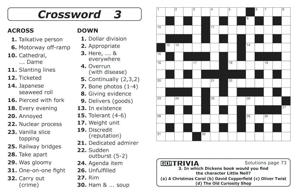 It is a picture of Massif Printable Crossword Puzzles for Adults