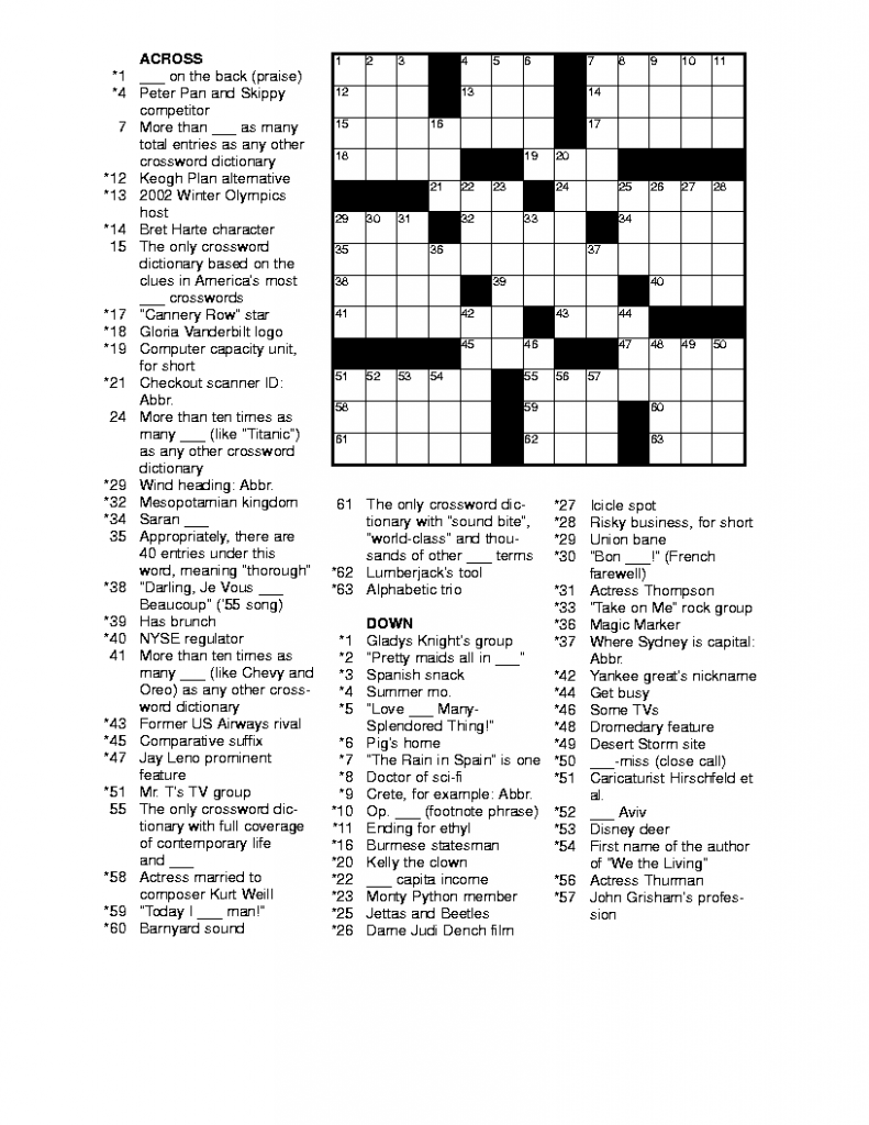 Printable Crossword Puzzles