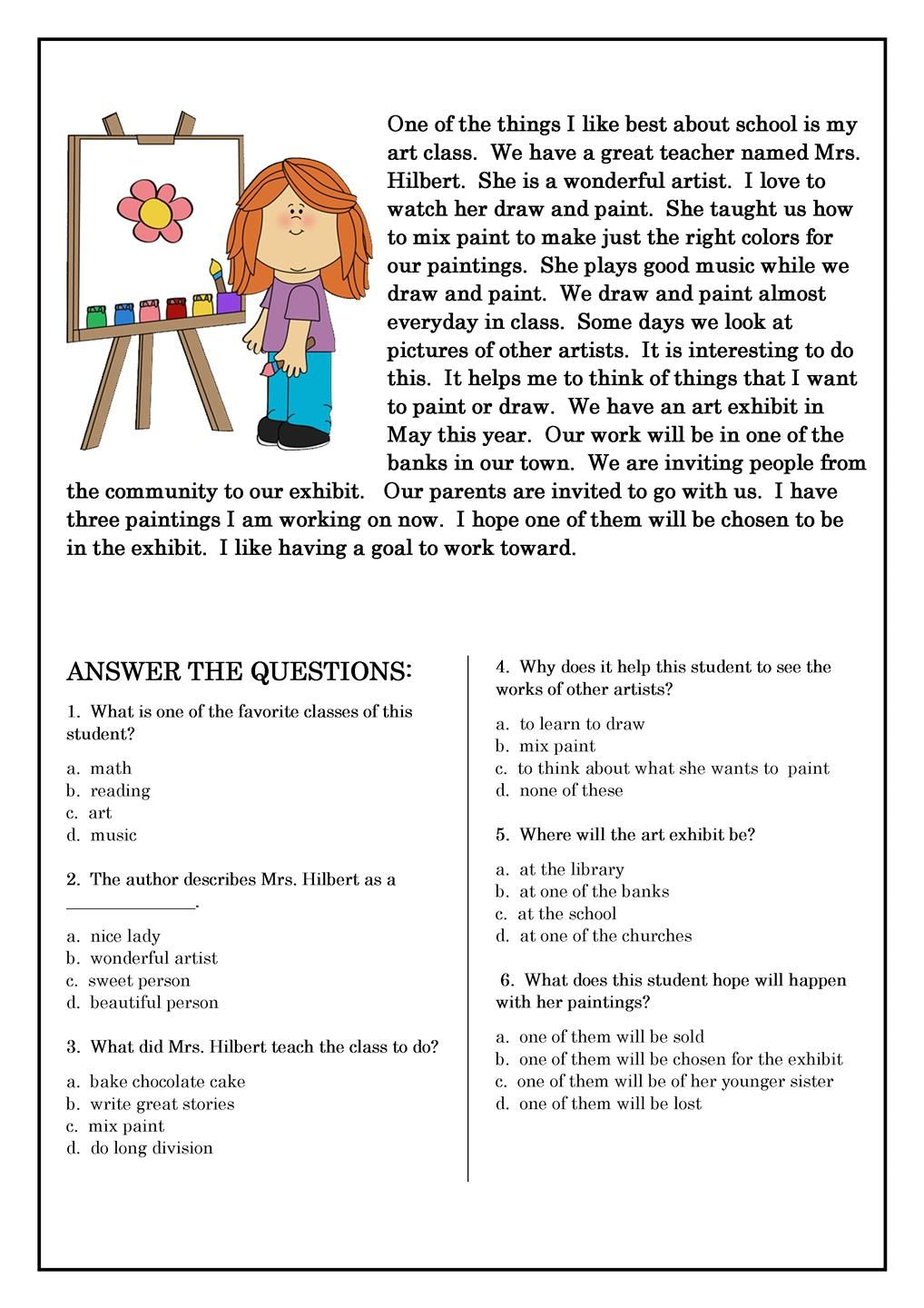 reading comprehension worksheets best coloring pages for