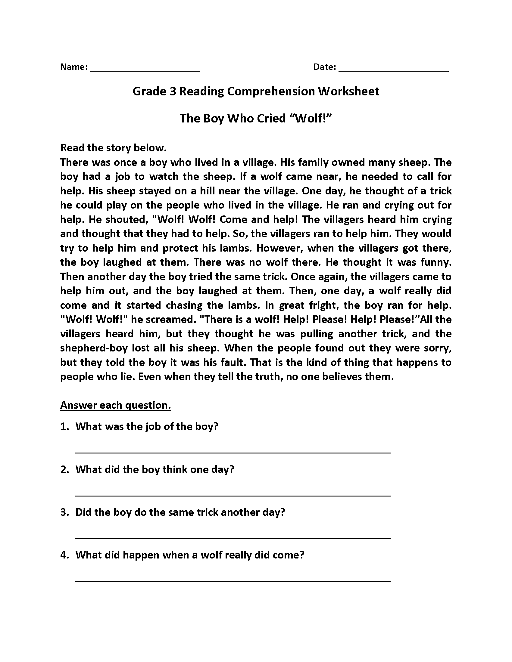 - Reading Comprehension Worksheets - Best Coloring Pages For Kids