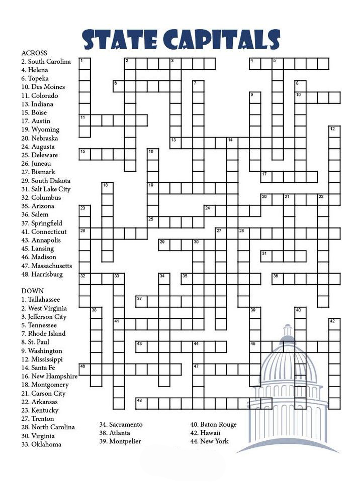 State Capitals Crossword Puzzle for Adults